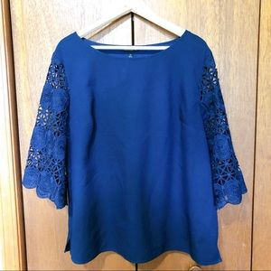 Banana Republic Navy Top with Lace Sleeves